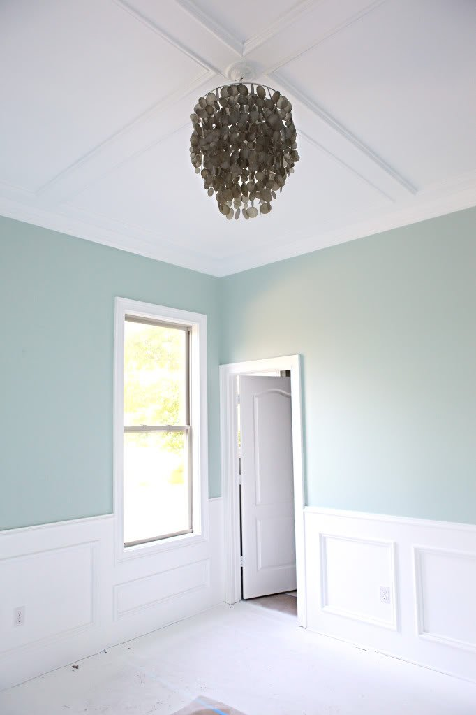 Bedroom wall color is Palladian Blue Benjamin Moore. Bower Power.
