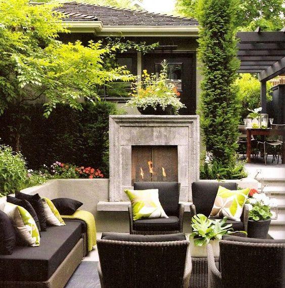 Concrete seating aroudn patio