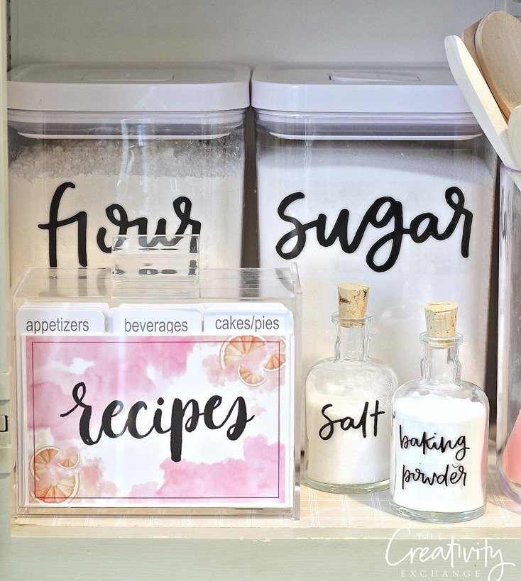Storage sources and tips for creating a baking cabinet - Labels for kitchen cabinets ...