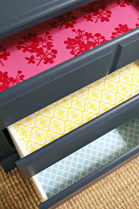 Wallpapered Dresser Drawers