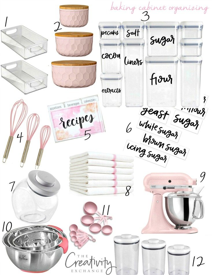 Organizing a baking cabinet with free printable hand lettered labels.