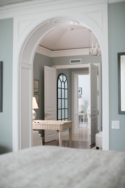 Wall color is Yarmouth Blue Benjamin Moore. Brooke Wagner Design