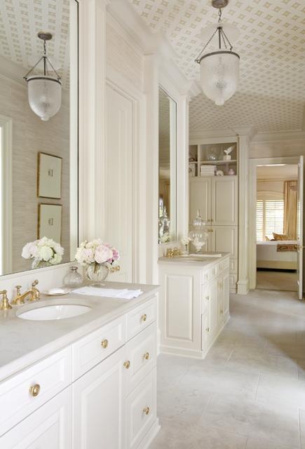 Wallpapered Bathroom Ceiling