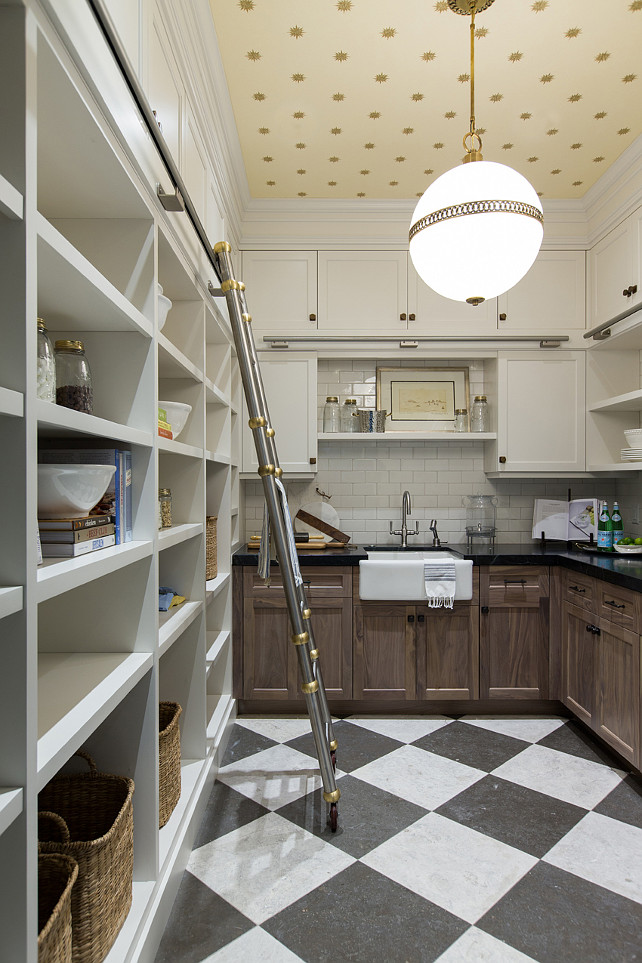 Wallpapered Butler S Pantry Ceiling