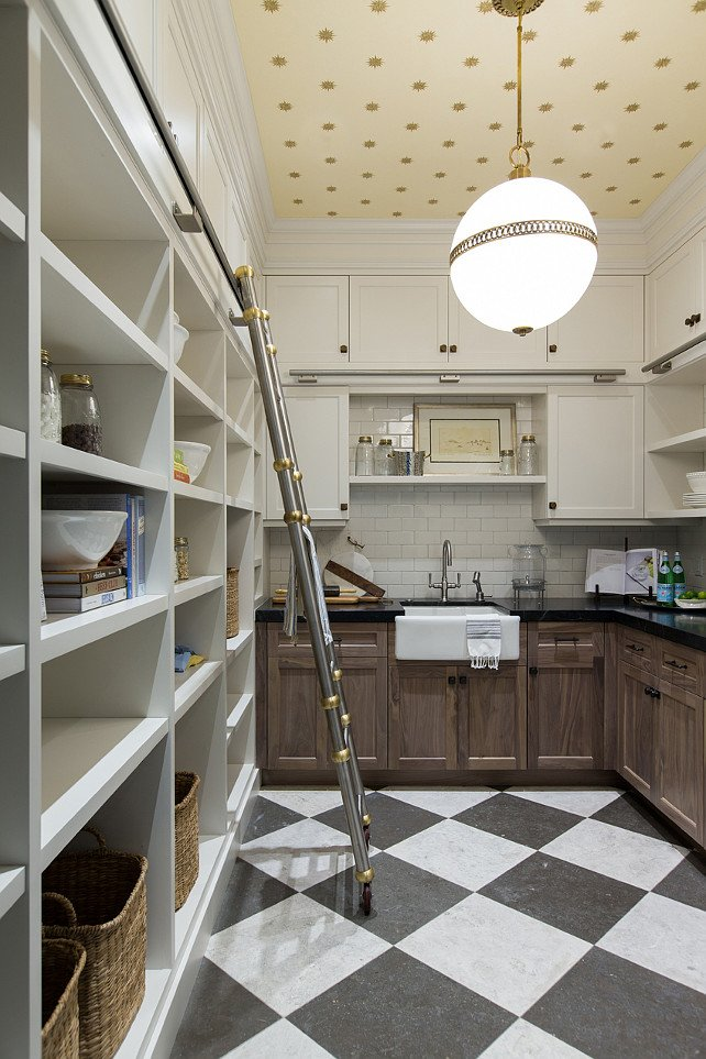 Wallpapered Butler's Pantry Ceiling