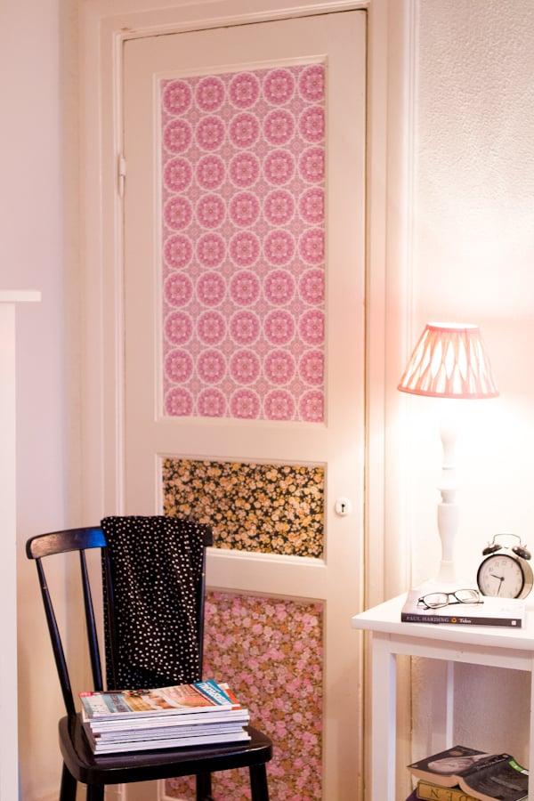 Wallpapered Closet Door