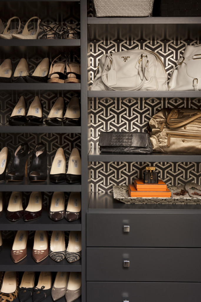 Wallpapered Closet Shelves