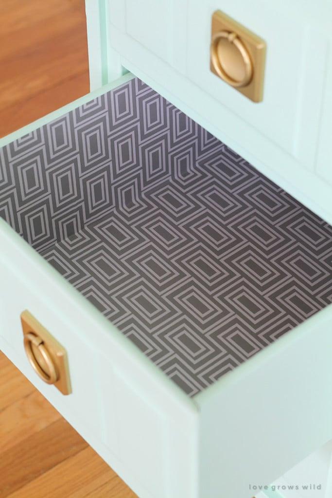 Wallpapered Desk Drawers