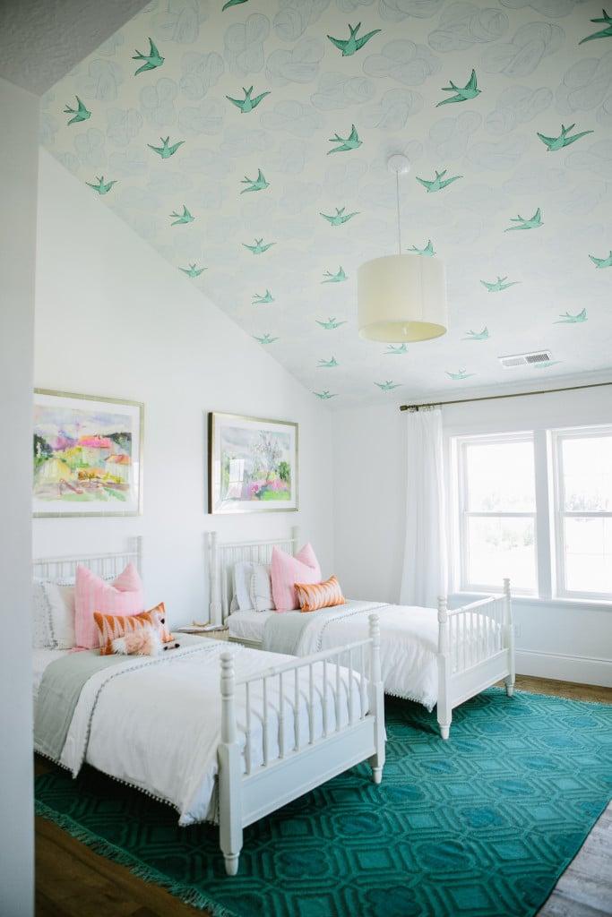 Wallpapered Girl's Bedroom Ceiling