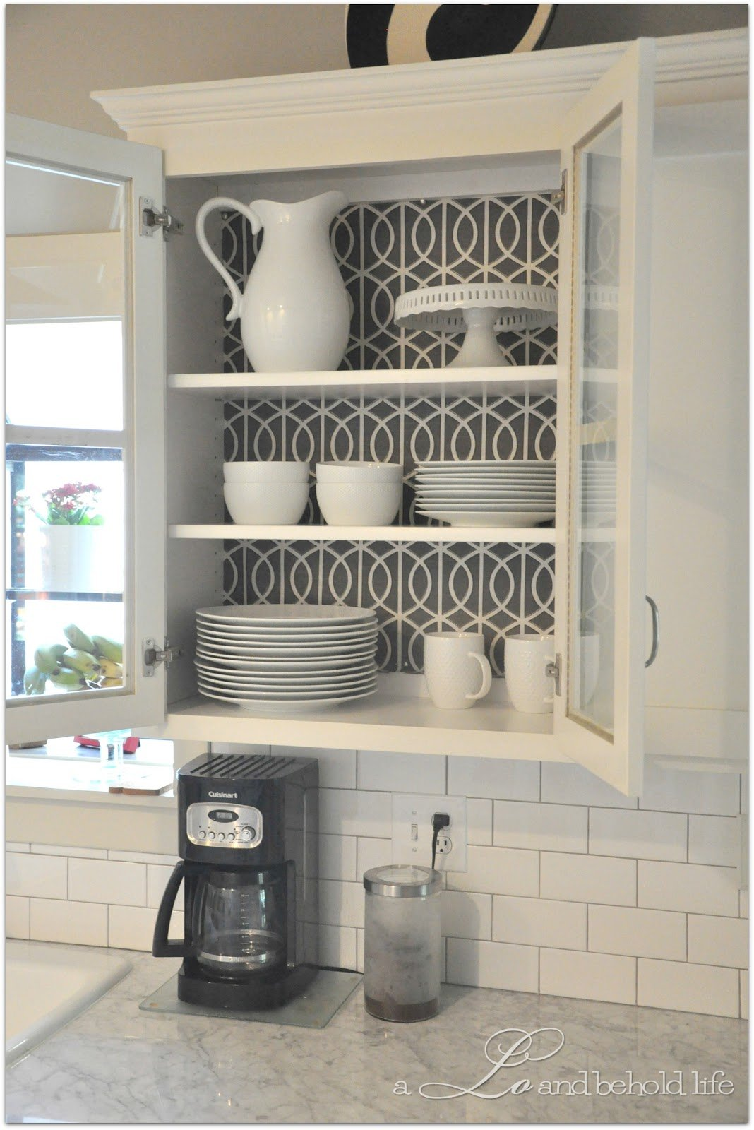 30 creative wallpaper uses and project ideas for Artistic kitchen cabinets