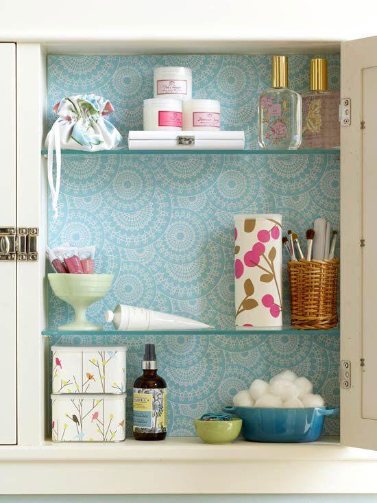 Wallpapered Medicine Cabinet