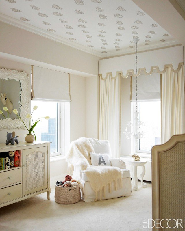 Wallpapered Nursery Ceiling