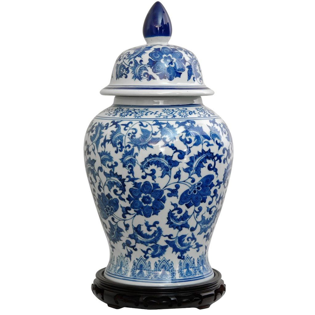 Blue and White tall ginger jar.