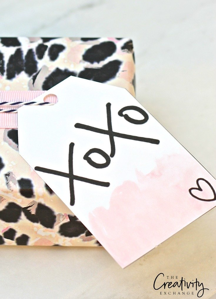 Free printable hand lettered gift tags and leopard print gift wrap. The Creativity Exchange