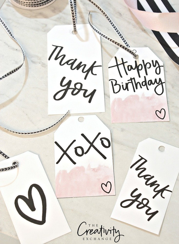 Free printable hand lettered gift tags and leopard print gift wrap