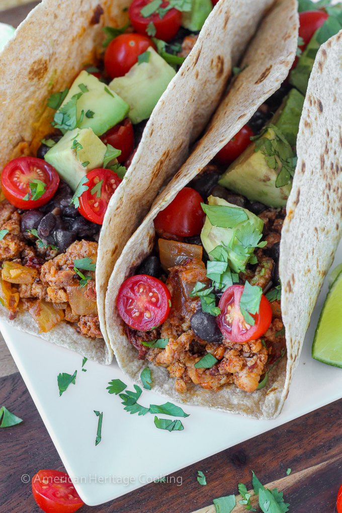 Healthy Chipotle Chorizo Chicken Tacos