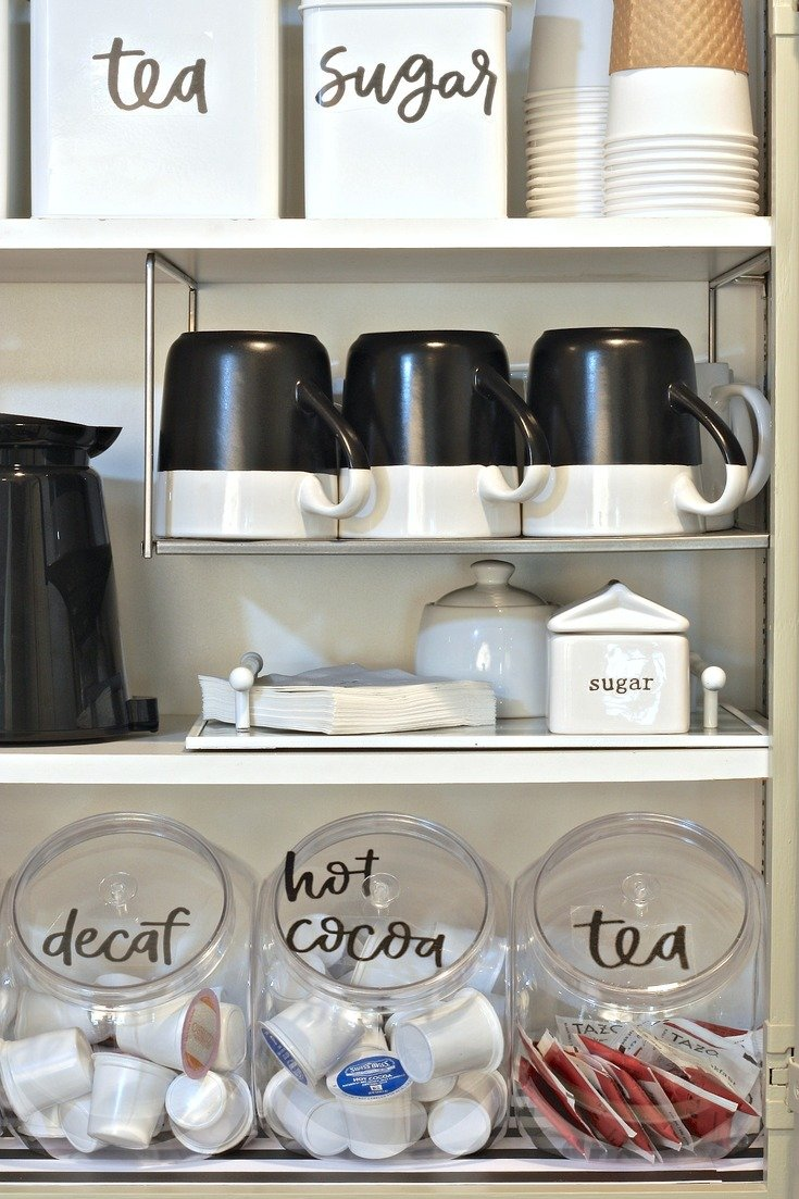 Organizing a coffee cabinet with free printable labels.