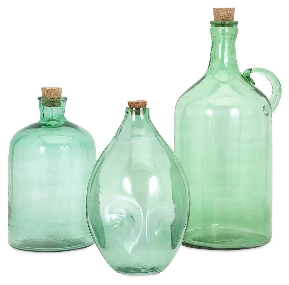 Set of three glass jugs for displaying tall leaves, palms and greenery. Amazon