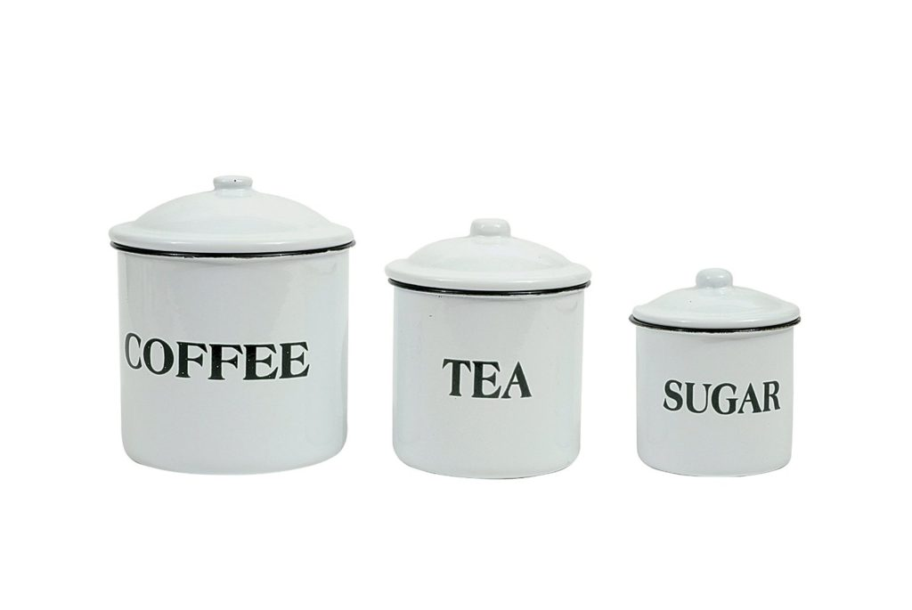 Set of three metal pantry canisters from Amazon