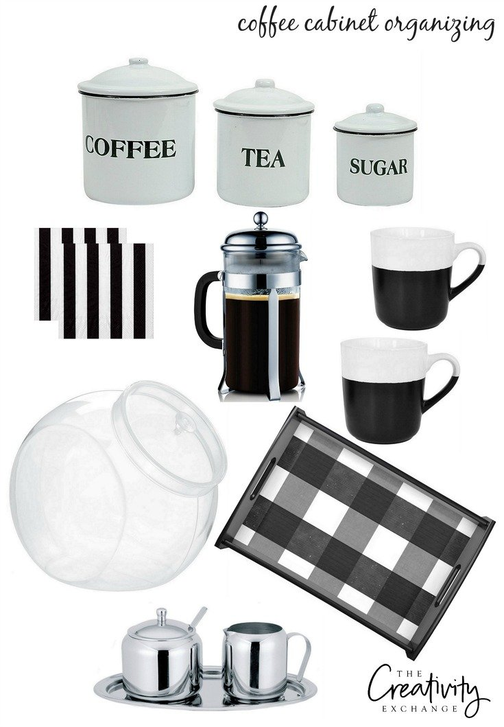 Sources and free printable labels for organizing a coffee cabinet.