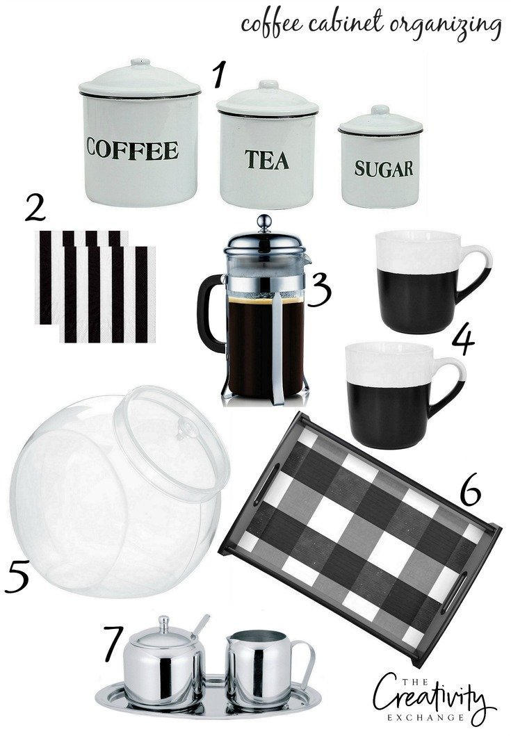 Sources and free printable labels for organizing a coffee cabinet