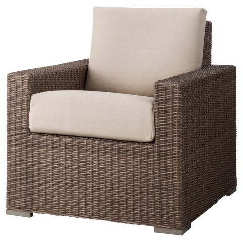 Durable plastic coated wicker club chair from Target.