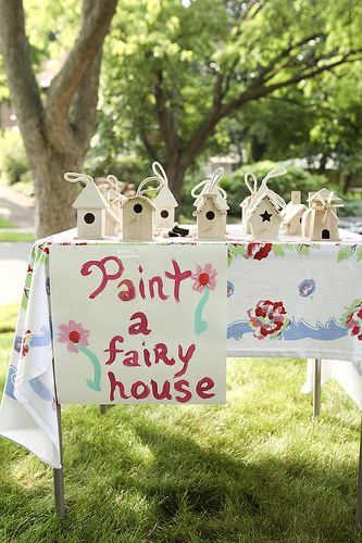 Paint a fairy house out of an unfinished wood birdhouse.