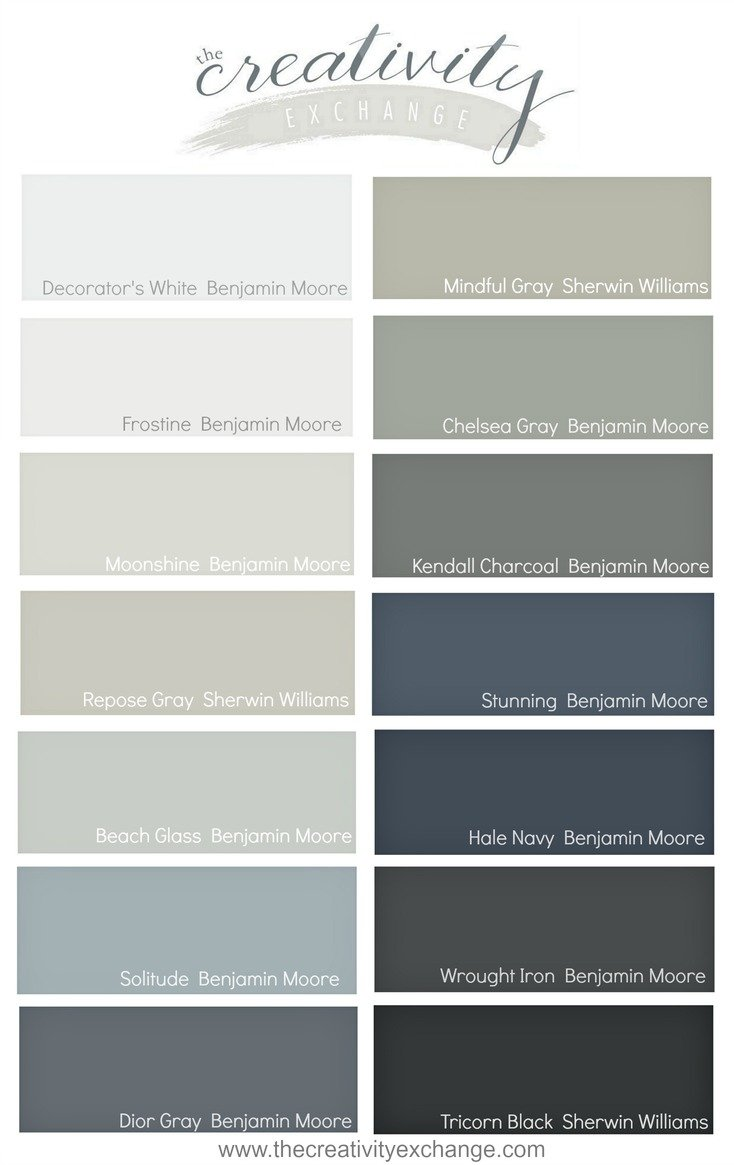 My go to paint colors for Neutral blue grey paint color