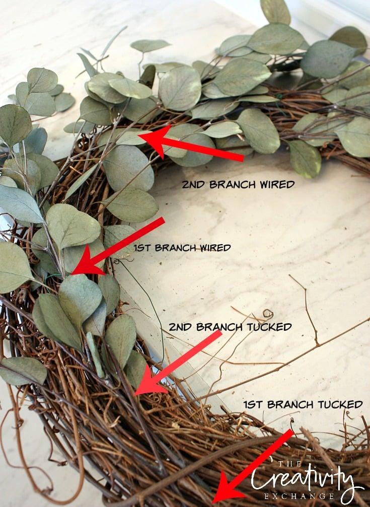 DIY Eucalyptus Door Wreath. The Creativity Exchange