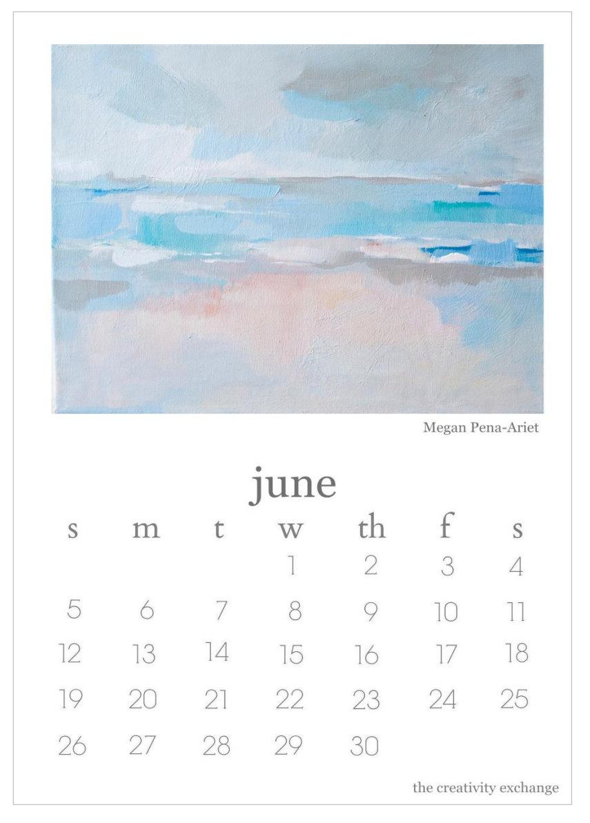 2016 Free Printable Calendar June. Artist Megan Elizabeth