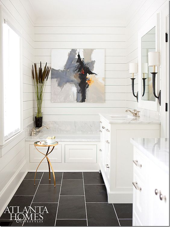 Abstract art in modern farmhouse design.