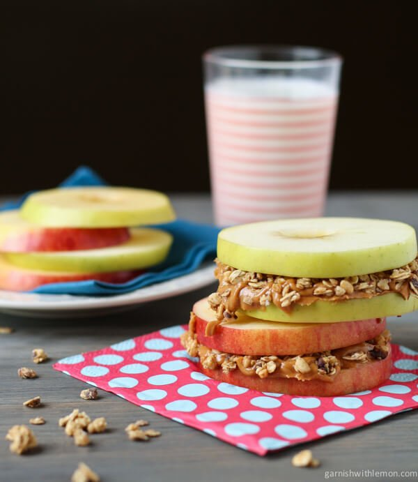 Apple Sandwiches with Almond Butter and Granola