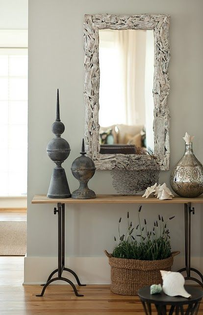 Old zinc finials mixed with mercury glass.