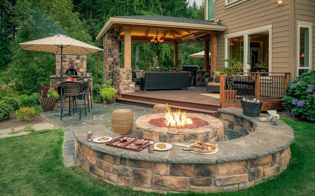 Creative fire pit designs and diy options for Cocina exterior jardin
