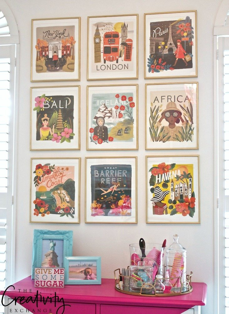 framed gallery wall from rifle paper company wall calendar