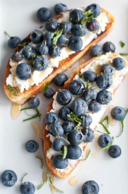 Grilled Ciabatta, Ricotta, Blueberries, Honey, and Mint