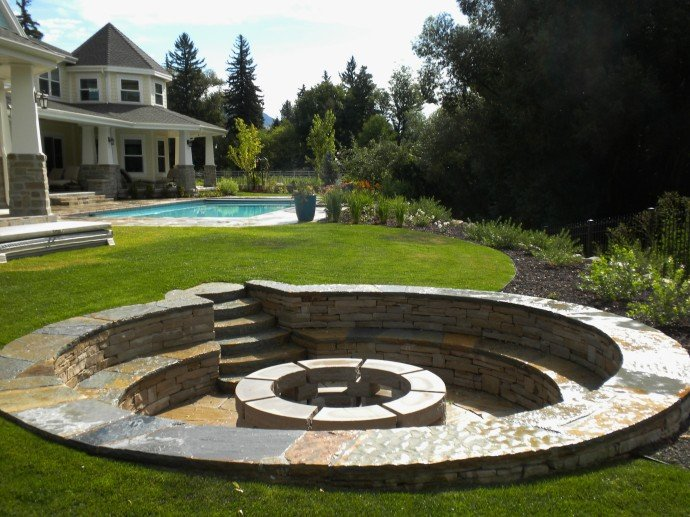 Backyard Fire Pit Designs backyard fire pit designs fire pit backyard designs In Ground Circular Stone Fire Pit