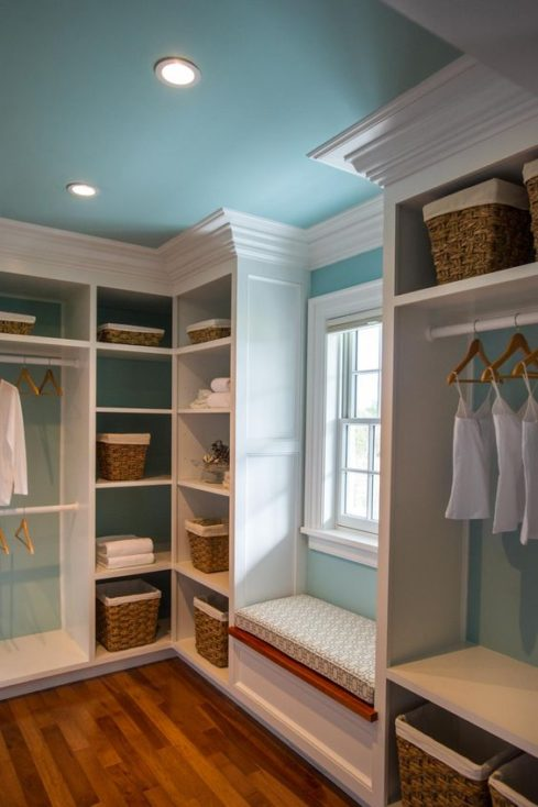Painted Closet Ceilings and Built-Ins