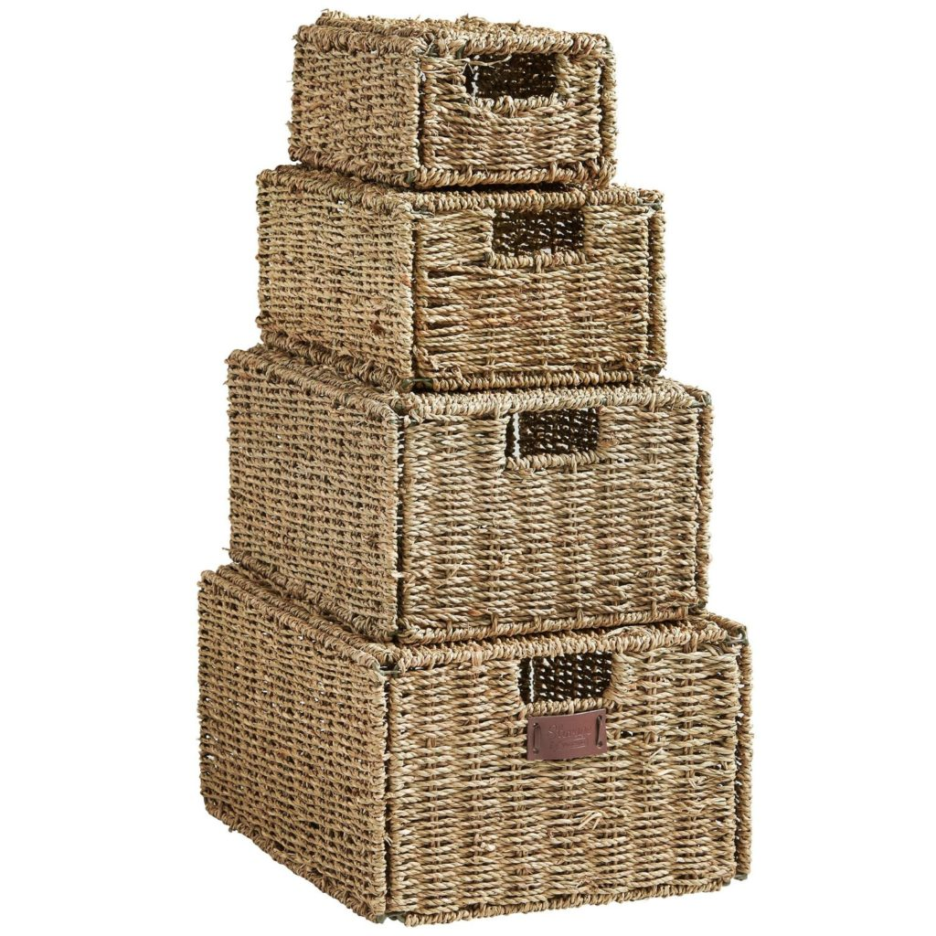 Seagrass basket set of four with lids. Available on Amazon