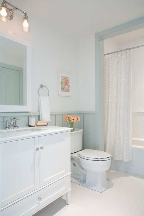 Sherwin Williams Sea Salt on Lower and Pointing by Farrow and Ball on Wall. Braun + Adams
