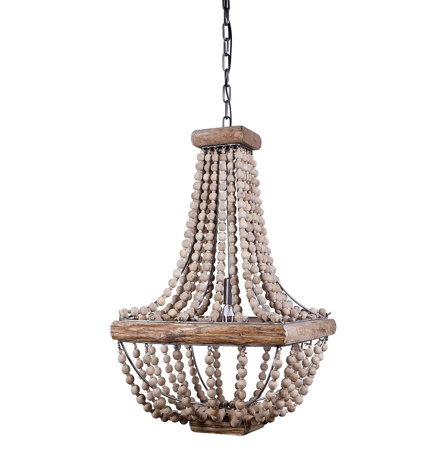 Square empire wood bead chandelier.
