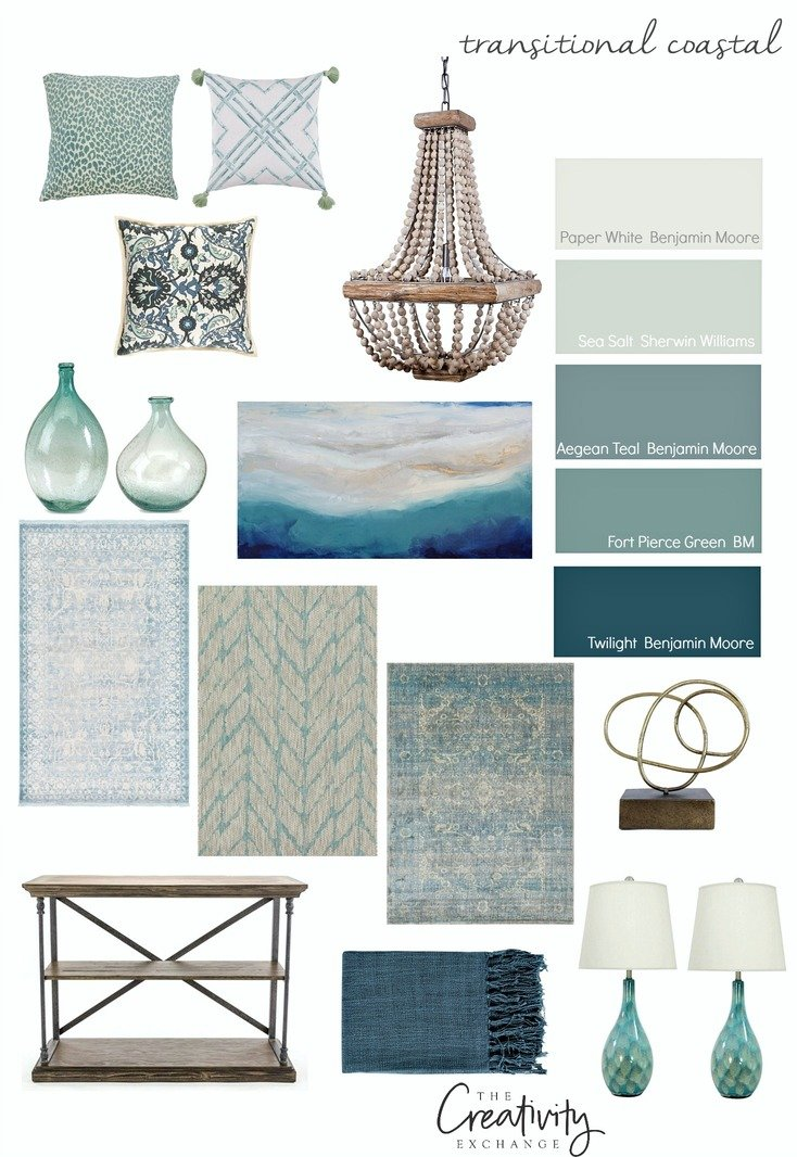 Transitional coastal color palette.
