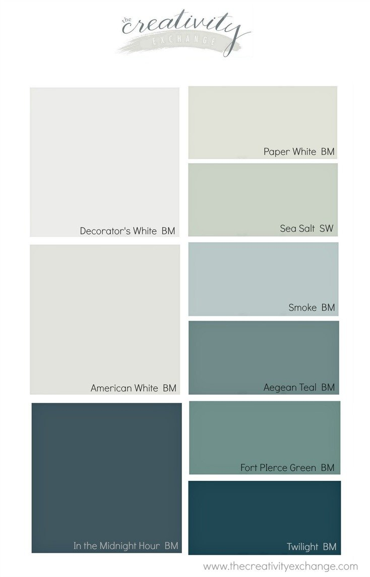 Moody monday transitional coastal design for Interior paint colors that go together