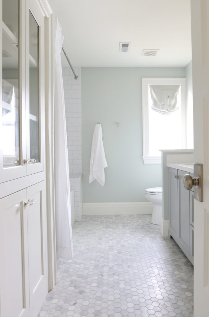 Wall color is Sea Salt Sherwin Williams. via Studio McGee