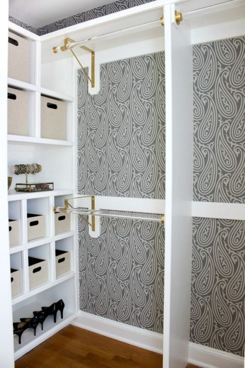 Wallpaper and Pull-Out Storage