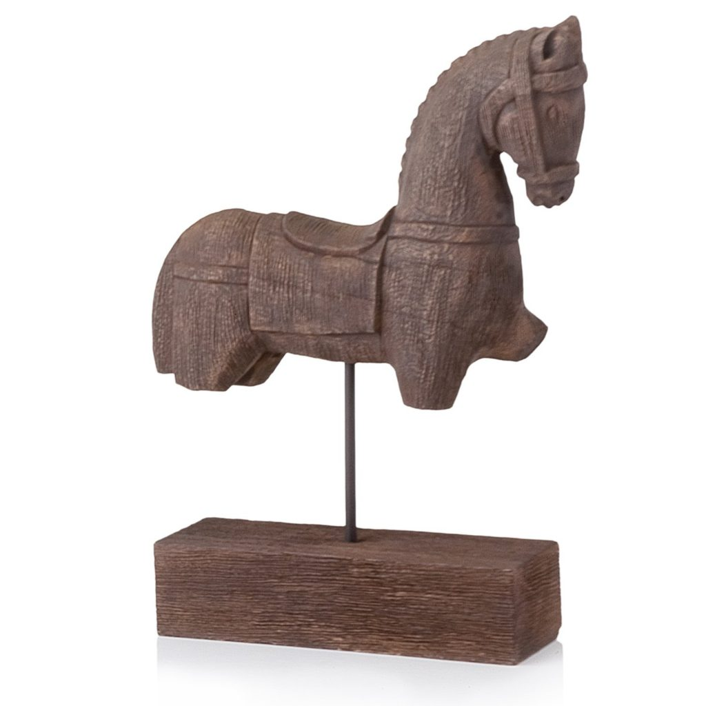 Wood horse on stand for layering bookshelves. From Amazon.