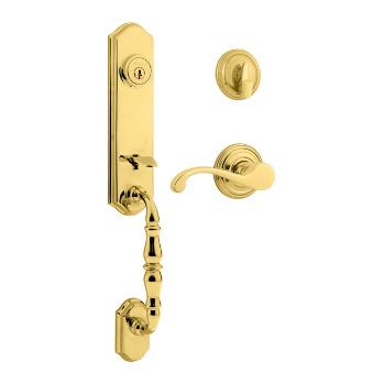 Kwikset Door Hardware and Lock in lifetime brass finish.