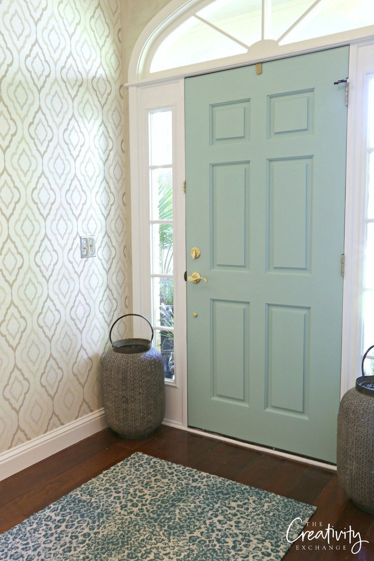 Front door painted with Hazel by Sherwin Williams