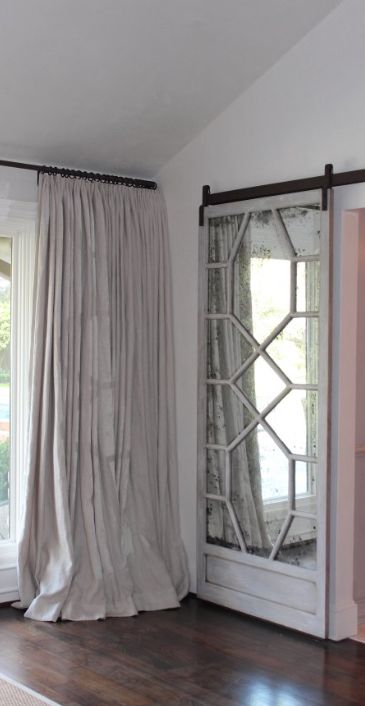 Modern and rustic interior sliding barn door designs for Mirrored barn door