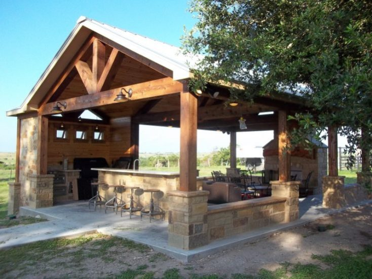 Creative pergola designs and diy options for Outdoor kitchen under pergola